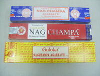 Assorted Mixed Sampler Lot Nag Champa Incense Sticks: Satya, Goloka & Golden