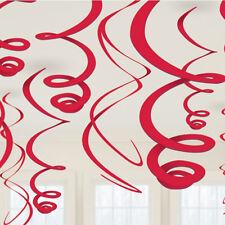 12 x Rosso Appeso Turbinii Decorazione Feste Decorazioni da Appendere