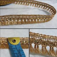 1.7cm- Beautiful metallic gold sequins fringe lace trim for crafts - 1 metre