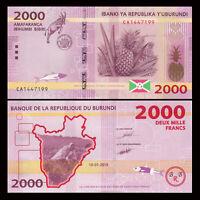 Burundi 2000 2,000 Francs Banknote, 2015, P-52 New, UNC, Africa Paper Money