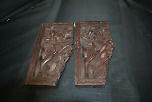 2 Wood Matching Hand Carved Decorative Shelf Brackets -A7
