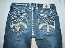 CHIC Designer Laguna Beach flor de lis Stitch Skinny Slim Denim Blue Jeans 27