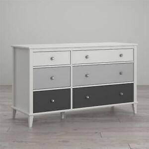 Little Seeds Monarch Hill Poppy 6 Drawer Dresser, White/Gray