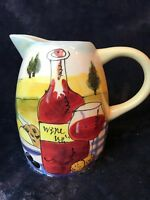 "Pitcher w/ painted wine bottle & glass picnic scene- 6 1/2"" Tall"