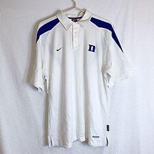 Nike Sphere Dry Duke Blue Devils Men's Med Ribbed White Polo Shirt NCAA Team
