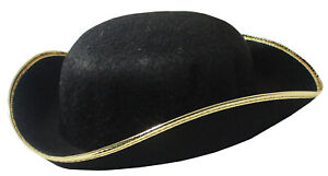 Tri-Corner Felt Pirate Hat, Large, Black