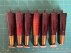 """Lot of 7 Midcentury Modern Wood & Brass Tapered Legs With Feet 7"""""""