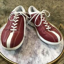 Lady Fairway Women's Sz 8.5 M Red and White Leather Golf Shoes