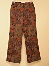 """NYGARD Collection Floral Design Brown Black Multi-Shade Pants 8 /Waist 30"""" NWOT"""