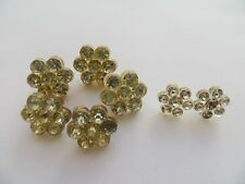 1940s Vintage Sm Celluloid/Clear Glass 'Flowers' Craft Collectible Buttons-15mm