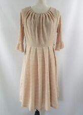 Eva Franco Anthropologie Beige Ivory 3/4 Sleeve Tea Dress Size 8