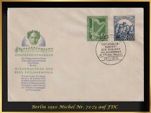 Musik und Philatelie: Berlin 1950 - FDC - Michel-Nr. 72+73 = 300 EUR