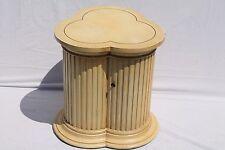 Vintage Carved Tri Sided Column Cabinet - Alabaster Color