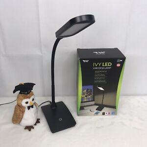 Black LED Desk Lamp 3 Level Touch Dimmer, Built-in USB Port, Charging Adjustable