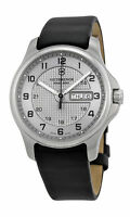 Swiss Army Classic Officer's Steel GMT Mens Strap Watch Silver Dial Date 241550