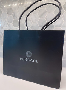 "Versace 10""x8""x4"" Empty Black SHOPPING GIFT Paper BAG Logo for Bag or Shoes"