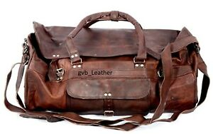 Expertly Made Leather Travel Bag Large Weekend Holdall Gym Duffel Tote Overnight