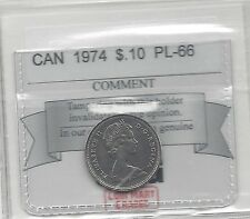 **1974**, Coin Mart  Graded Canadian,  10  Cent, **PL-66**.