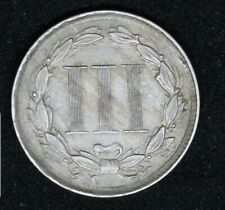 More details for 1865 3 cents, usa aunc, moderate die clashing on both sides error