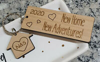 PERSONALISED NEW HOME HOUSE WARMING GIFT FIRST HOME KEYRING NEW HOUSE FAMILY
