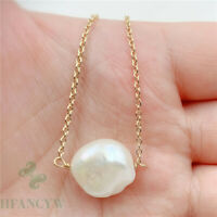 14-18mm White Baroque Pearl Pendant 18 inches Necklace Cultured South Sea DIY