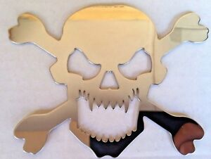 "5"" Stainless Steel Chrome Head Skull Cross/Bones Pirate Emblem for Buick, Chevy"
