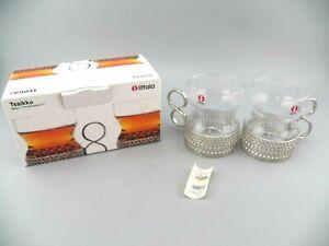 iittala Finland Tsaikka Design Timo Sarpaneva 2 Steel 8 oz. Glasses Hot Drinks