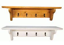 Shelf with 4 Hooks Key Hanging Rack Wooden Wall Mounted