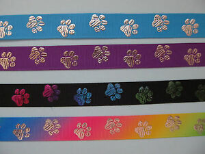 "Paw Print Dog Collar Grosgrain Ribbon 5/8"" 16mm ** 9 DIFFERENT COLOURS**"