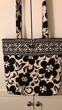 Vera Bradley Night And Day Tote Bag Quilted Black Floral Purse Retired pre owned