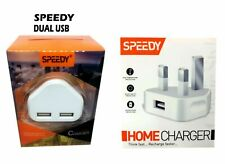 Fast Dual 2 Port USB Charger 1 Port USb 3 Pin UK Mains Wall Plug Adapter 2.1A
