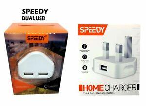 Fast Dual 2 Port USB Charger 1 Port USb 3 Pin UK Mains Wall Plug Adapter 2.1Anew