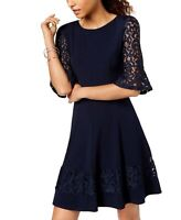 Jessica Howard Womens A-Line Dress Blue Size 12P Petite Bell-Sleeve $89- 173