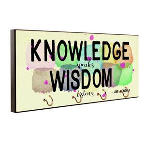 Knowledge Speaks Wisdom Listens Jimi Hendrix Quote Key Hanger / Pet Leash Hanger