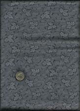Nice Unusual Fan Leaf Geometric &  Micro Dot Print drk grey on grey Fabric