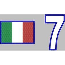 [Patch] BANDIERA ITALIA E NUMERO RICAMATO cm 7x4,5 bandiera 4x7 num. ITALY -335
