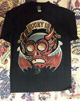 Lucky 13 Pin Up Punk Street Gothic Rockabilly Tattoo Mens Blacks Tee DIABLO