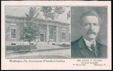 WASHINGTON PA US Post Office & Dr Chas F Evans Portrait Antique Postcard Vtg Old