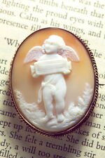 ANTIQUE ITALIAN 9K GOLD NATURAL SHELL CAMEO BROOCH CUPID DELIVERING GIFT c1870