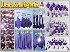 PURPLE SUN CATCHERS TREE DECORATIONS GLASS CRYSTALS CHANDELIER BEADS DROPLETS