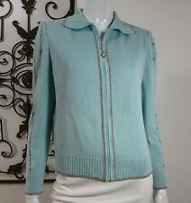 St. John Collection By Marie Gray Santana Knit Full Zip Sweater Size 8 Blue