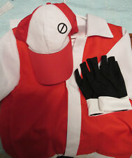 Pokemon Trainer Red Cosplay Costume Shirt + Hat + Wristguards Size S Adult
