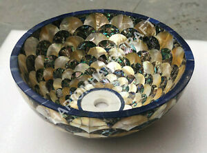 """15"""" Marble Round Wash Basin Golden Mother of Pearl And Lapis Random Inlay E1484"""