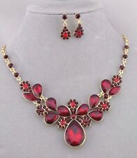 Red Rhinestone Necklace Earrings Set Gold Fashion Jewelry NEW