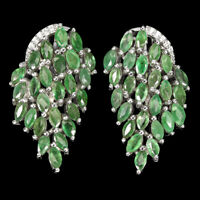 Unheated Marquise Emerald 4x2mm Cz White Gold Plate 925 Sterling Silver Earrings
