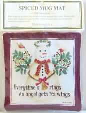Alice's Cottage Cotton Scented Spiced Mug Mat Coaster Holiday Snow Angel Wings