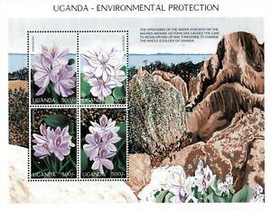 Uganda 1997 - FLOWERS/ENVIRONMENTAL PROTECTION - Sheet of 4 (Scott #1489) - MNH