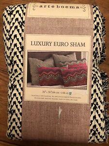 Arteboema Black and White  Euro Sham Ethnic Bohemian Chic beautiful!  NIP