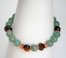 Tiger's eye and Aventurine bead stacker stretch bracelet rose gold plated
