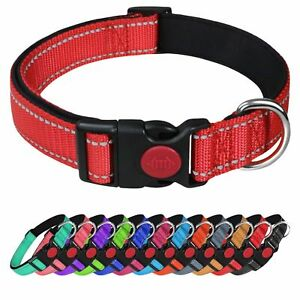 Dog Collar Puppy Adjustable Nylon Durable Collars 3 Colours 4 Sizes Uk SellerNew